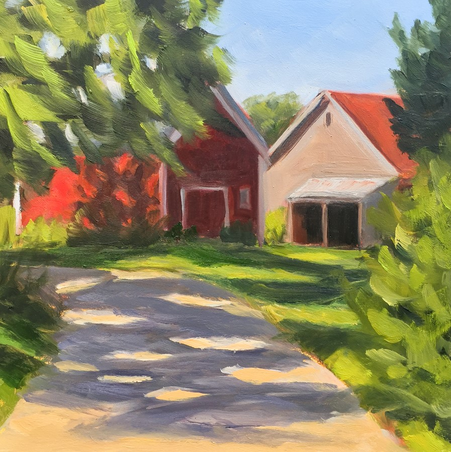 """#85 - Red Barn - Jericho, VT"" original fine art by Sara Gray"