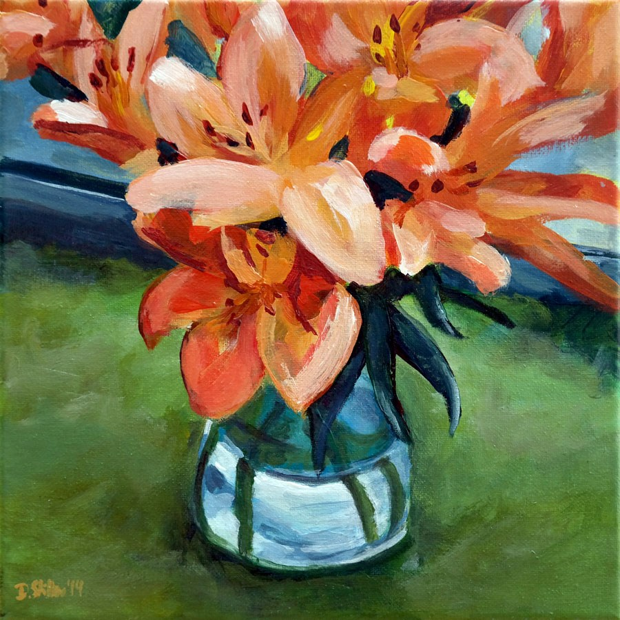 """0929 Lilies on Rose Monday"" original fine art by Dietmar Stiller"