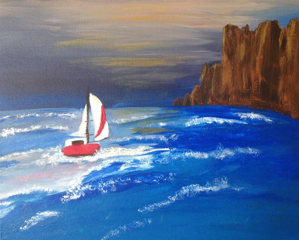 """Night Sail,  No. 2"" original fine art by Brenda Smith"
