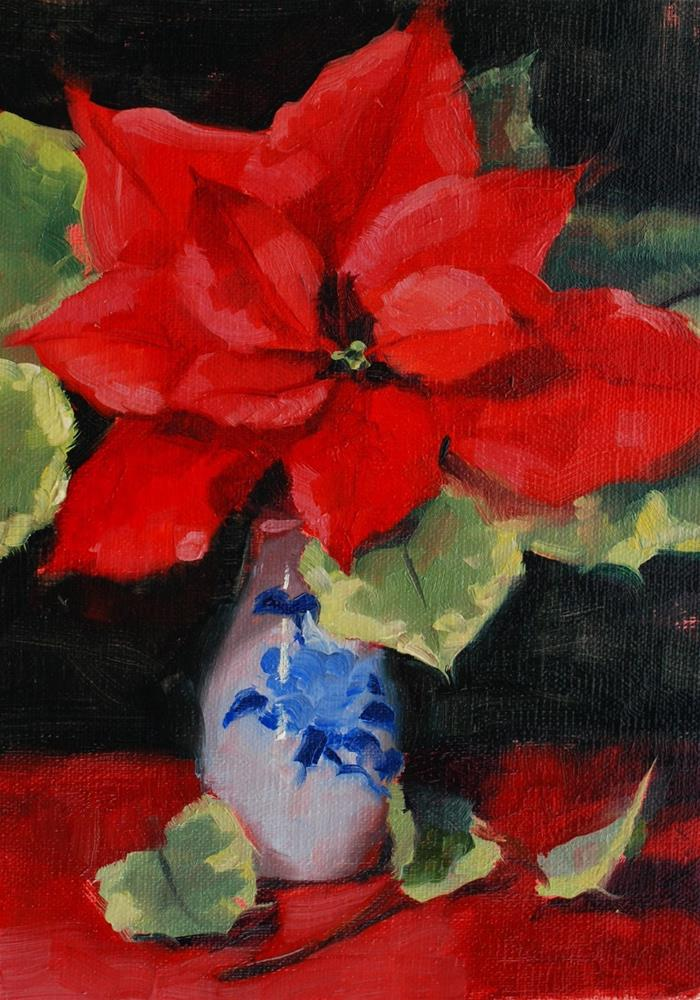 """No. 685 Poinsettia with Variegated Leaves"" original fine art by Susan McManamen"