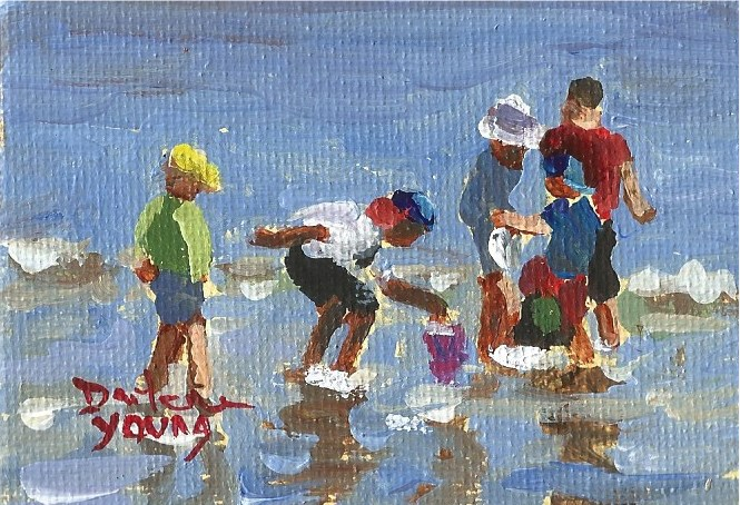 """934 Beach Kids, 2.5x3.5, miniature,oil on board"" original fine art by Darlene Young"