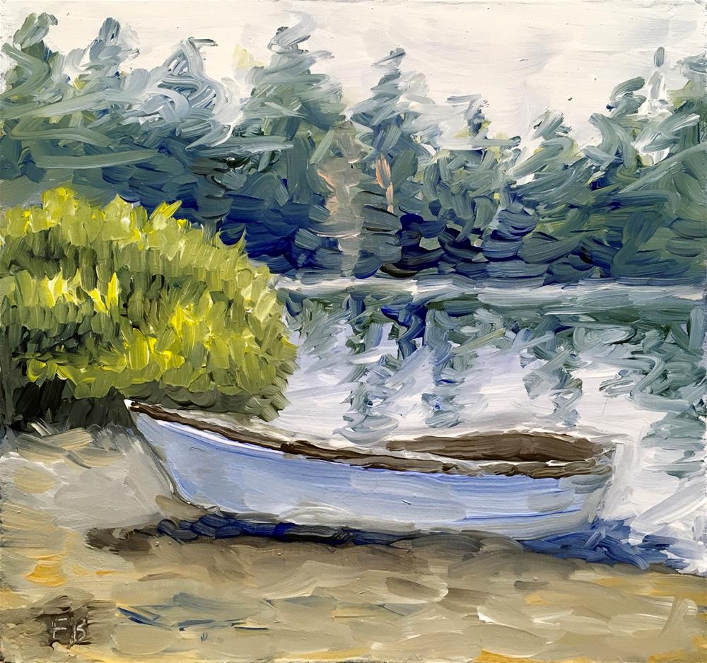 """""""110 Rowboat at Shore"""" original fine art by Fred Bell"""