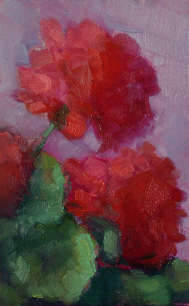 """""""Red Geraniums"""" original fine art by Carol Josefiak"""