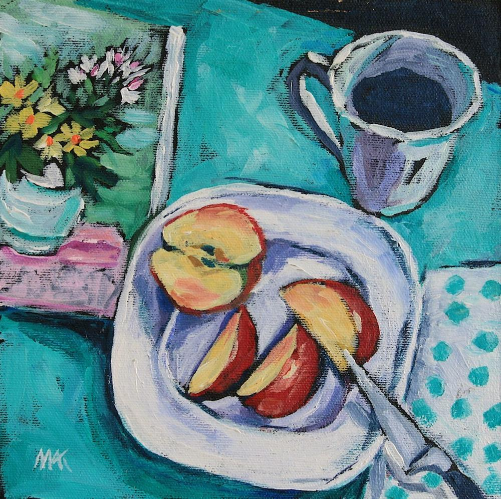 """Coffe and a Magazine"" original fine art by Mary Anne Cary"