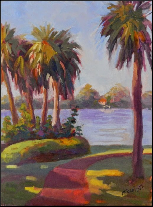 """""""Chilly in the Shade, 11x14, plein air, Bay Preserve, palm trees, Intracoastal waterway, Florida ar"""" original fine art by Maryanne Jacobsen"""