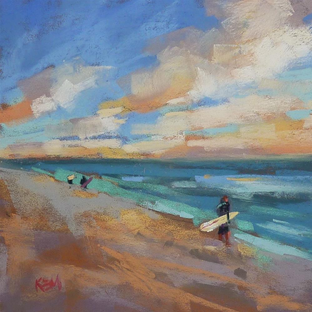 """""""Summer Surfing at the Beach"""" original fine art by Karen Margulis"""