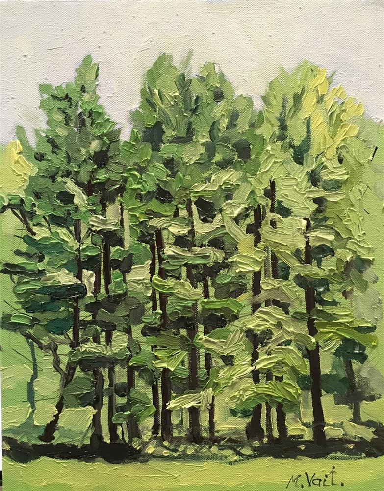 """Pine Trees"" original fine art by Milda Vaitiekunaite"