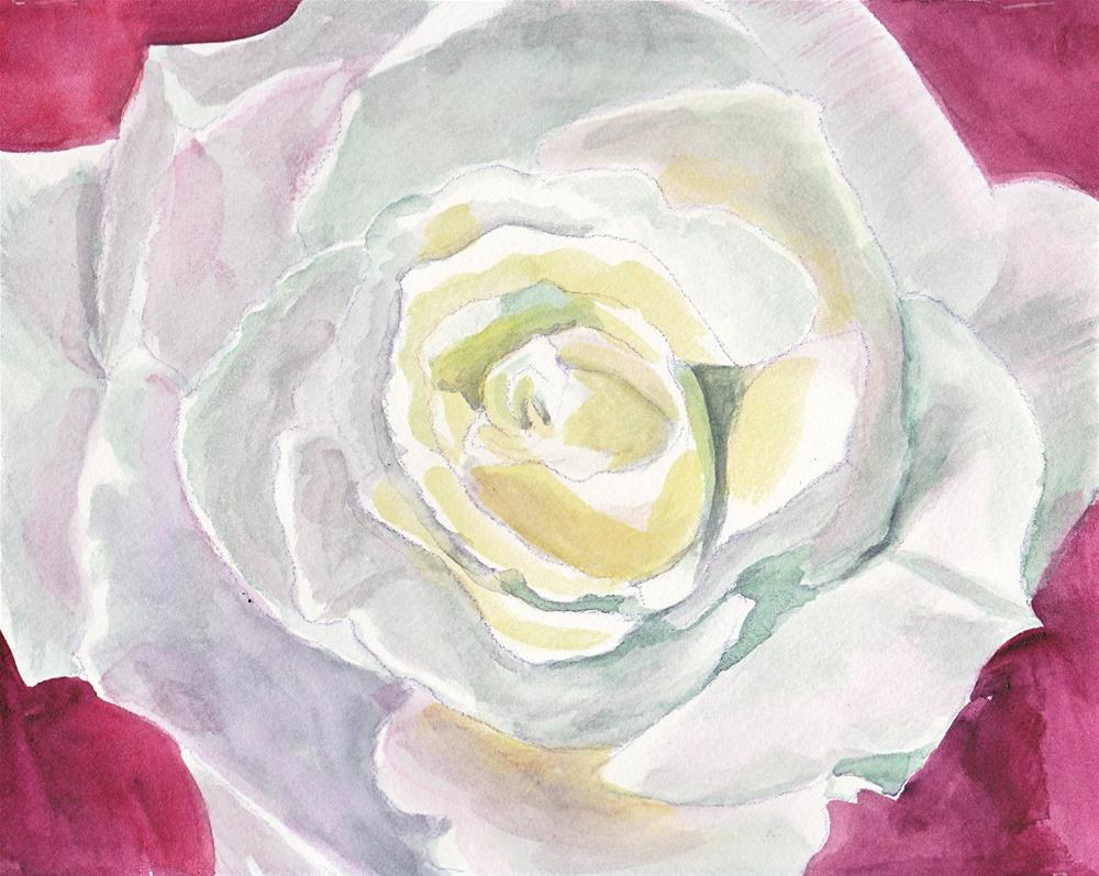 """White Rose"" original fine art by Bunny Griffeth"