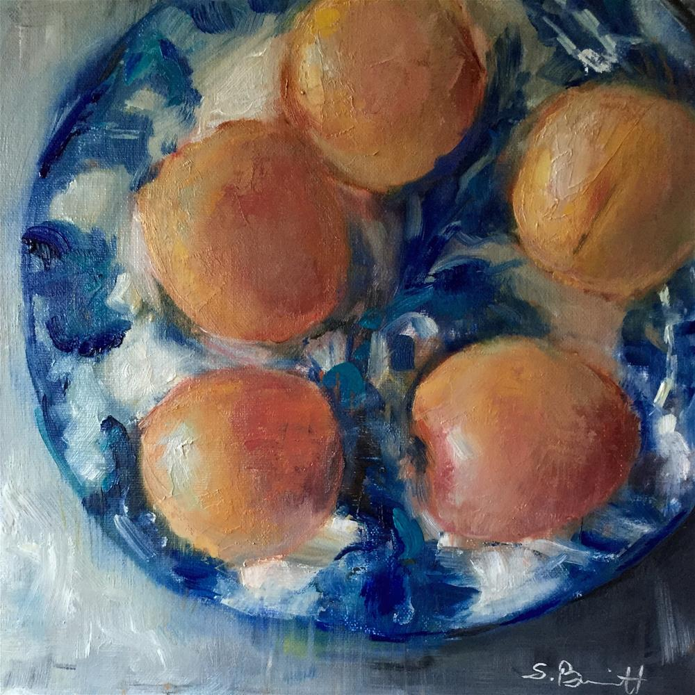 """French Blue and Apricots"" original fine art by Sherri Burritt"