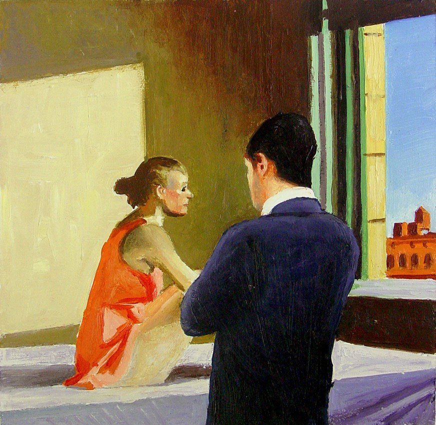 """Morning Sun- Painting Of Man Enjoying Painting By Edward Hopper"" original fine art by Gerard Boersma"