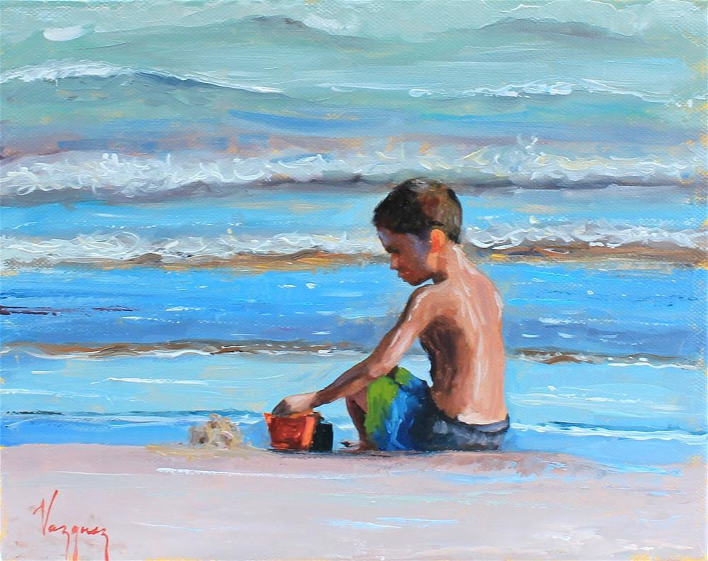 """Playing at the beach"" original fine art by Marco Vazquez"