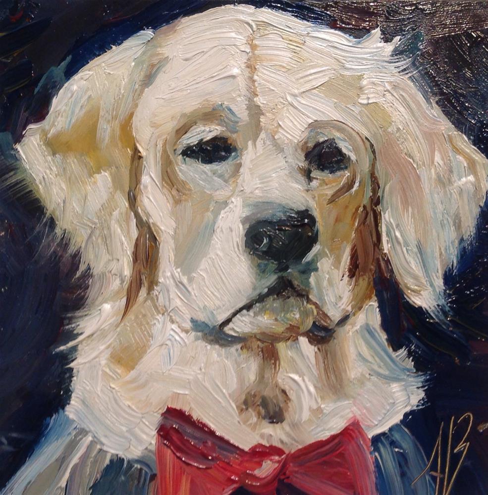 """Retriever Wearing Red Bow Tie"" original fine art by Annette Balesteri"