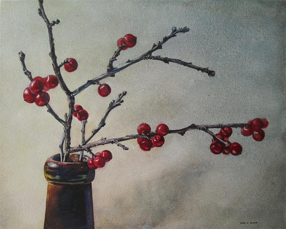 """Redware Winterberries"" original fine art by Kara K. Bigda"