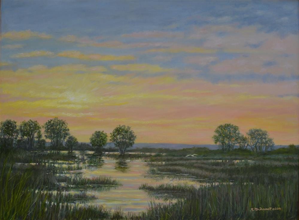 """""""Marsh at Sunset"""" original fine art by Kathleen McDermott"""