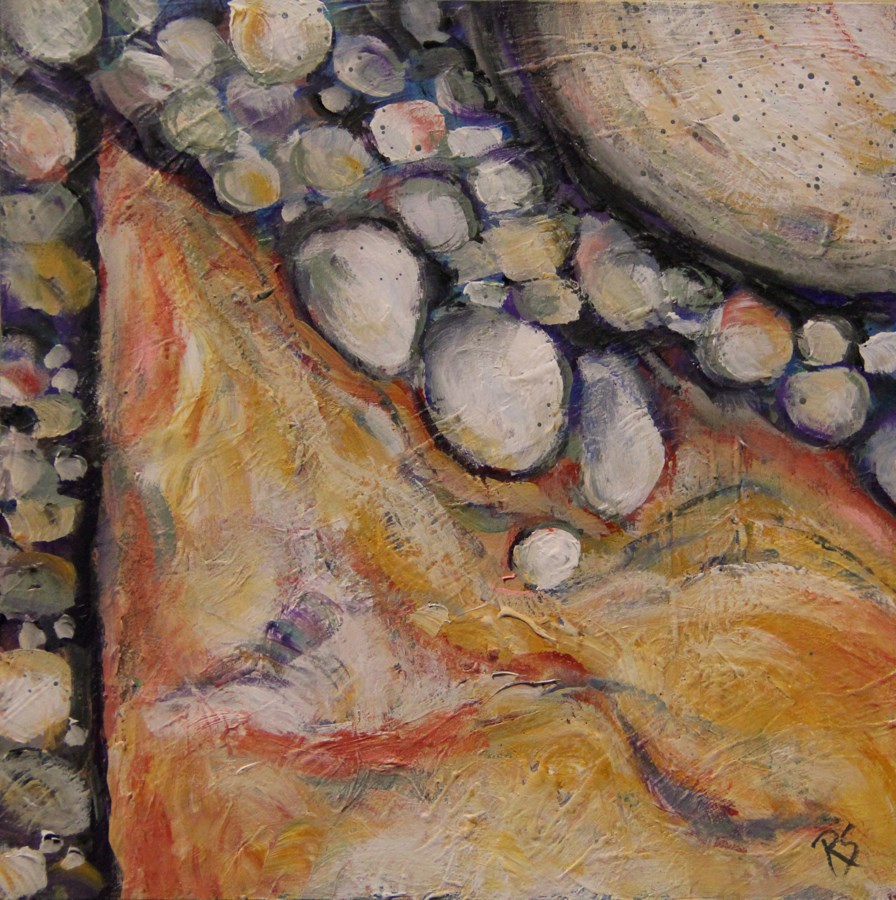 """River Stones"" original fine art by Roberta Schmidt ArtcyLucy"