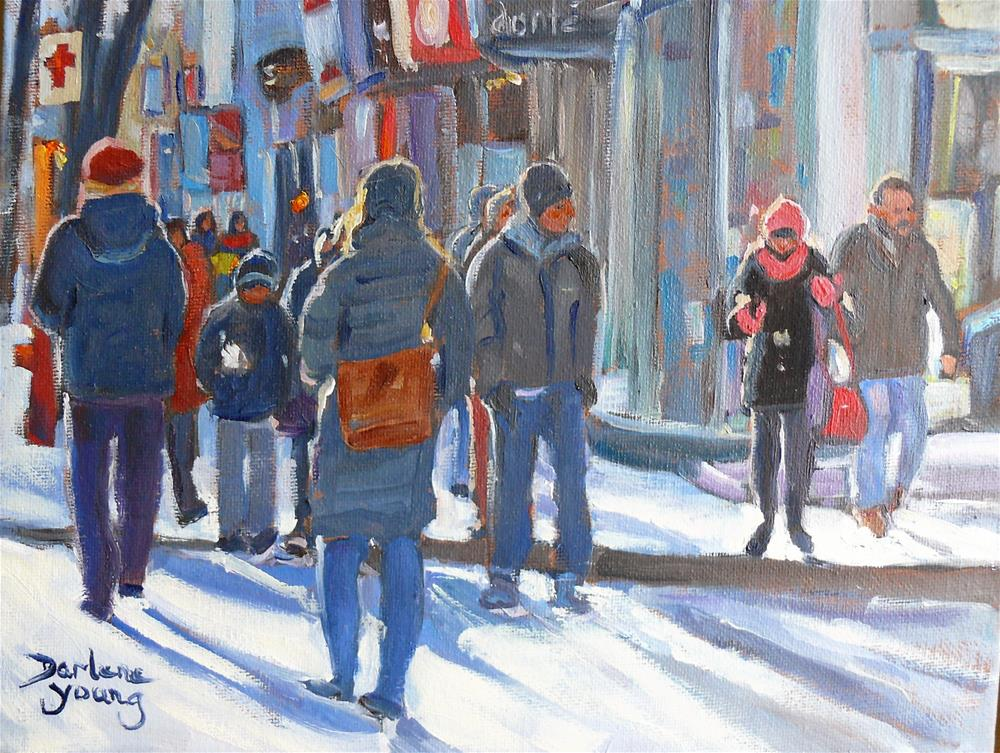 """Montreal Winter Scene, Ste Catherine"" original fine art by Darlene Young"