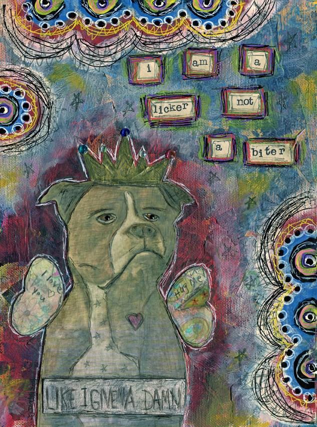 """Pitbull"" original fine art by Sonja Sandell"