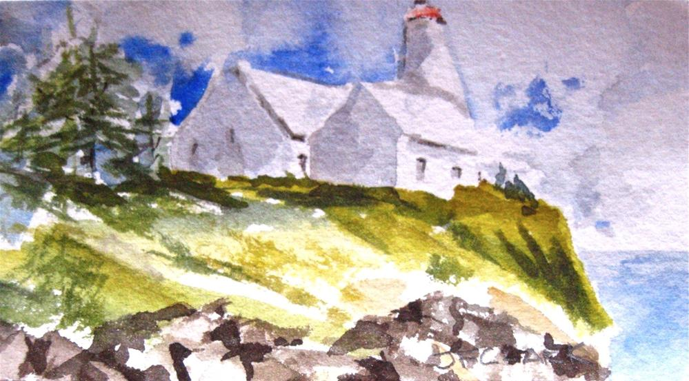 """Tiny Lighthouse"" original fine art by Judith Freeman Clark"