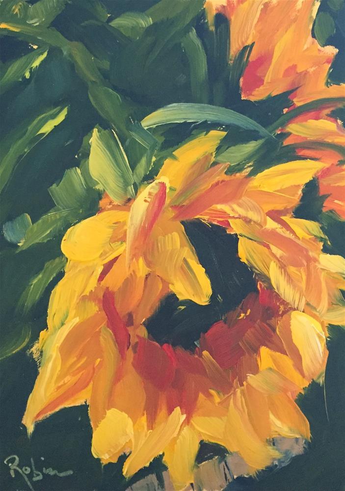 """Sunflower Kiss"" original fine art by Renee Robison"