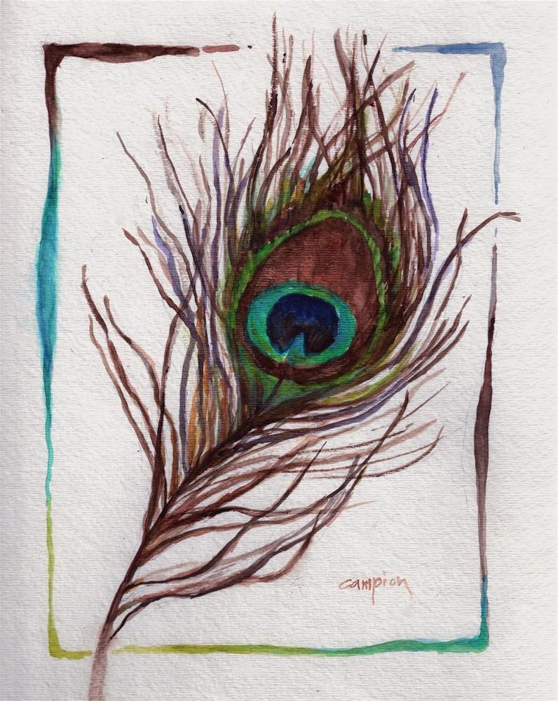 """372 Peacock Feather"" original fine art by Diane Campion"