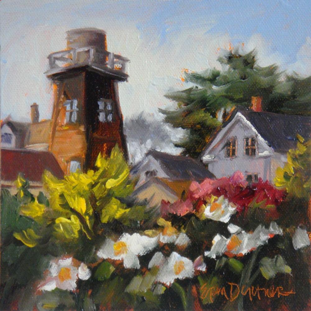 """""""Roof Upon Roof Upon Watertower"""" original fine art by Erin Dertner"""