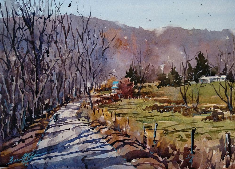 """Down Shadow Lane"" original fine art by Brienne M Brown"