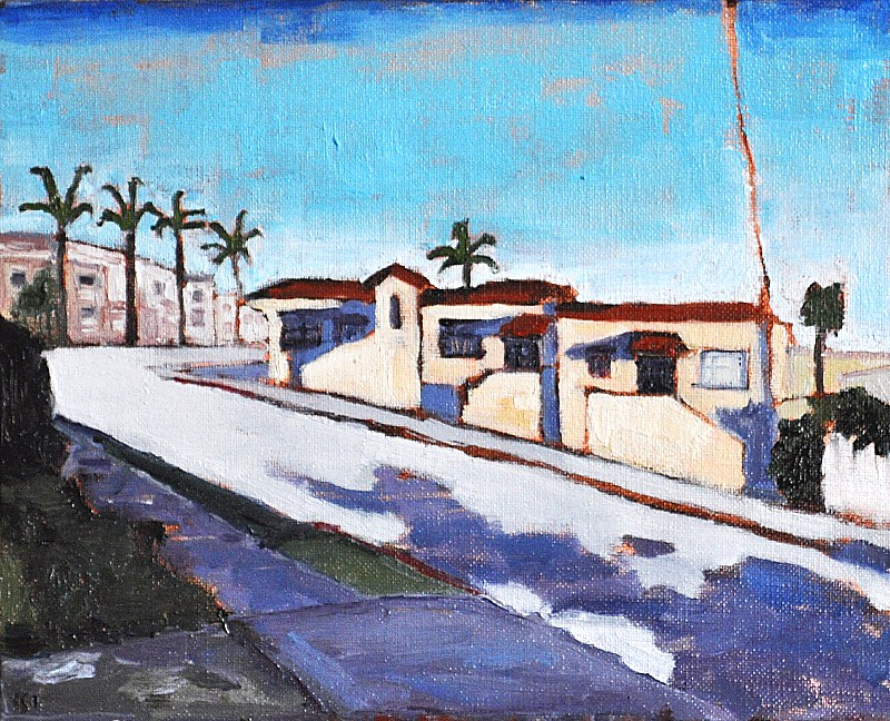 """Vintage Houses on the Hill in San Diego"" original fine art by Kevin Inman"