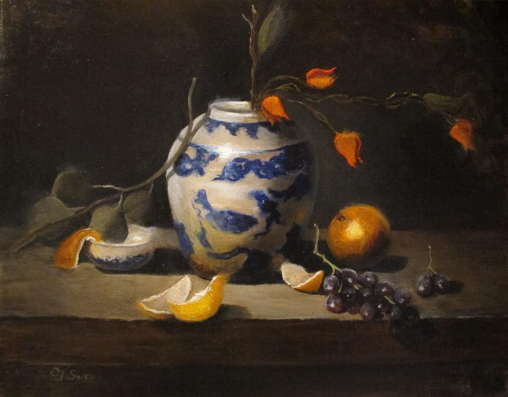 """""""Chinese vase with fruit"""" original fine art by Cheryl J Smith"""