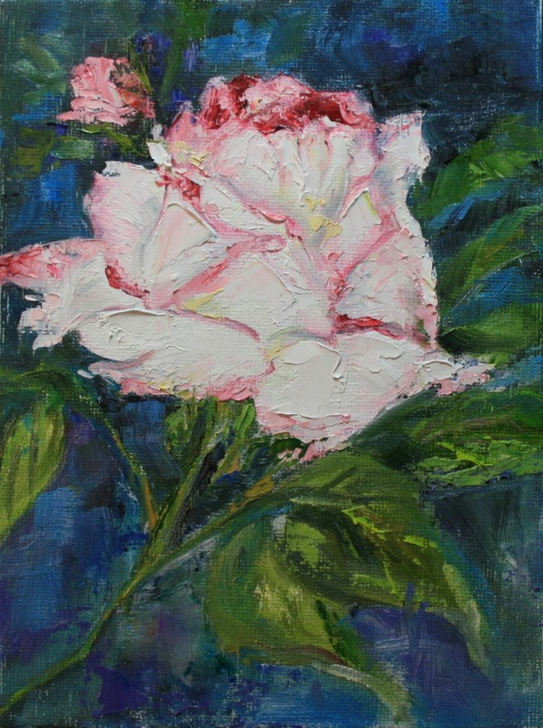 """""""White Rose Edged in Pink"""" original fine art by Jean Nelson"""