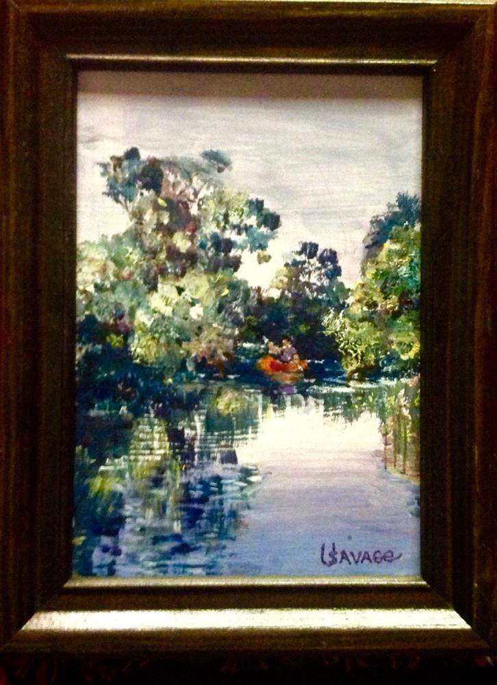 """ The Red Canoe"" original fine art by Judy Usavage"