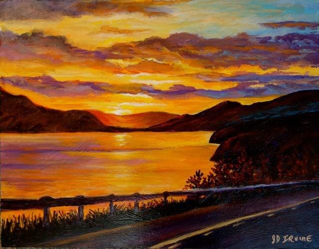"""Midnight Sun, Fox Lake Sunset, Yukon"" original fine art by Jackie Irvine"