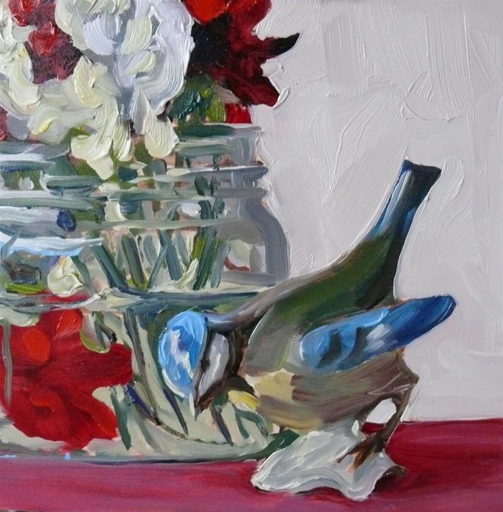 """878 Still Life with Ceramic Bird, oil on board, 6x6"" original fine art by Darlene Young"