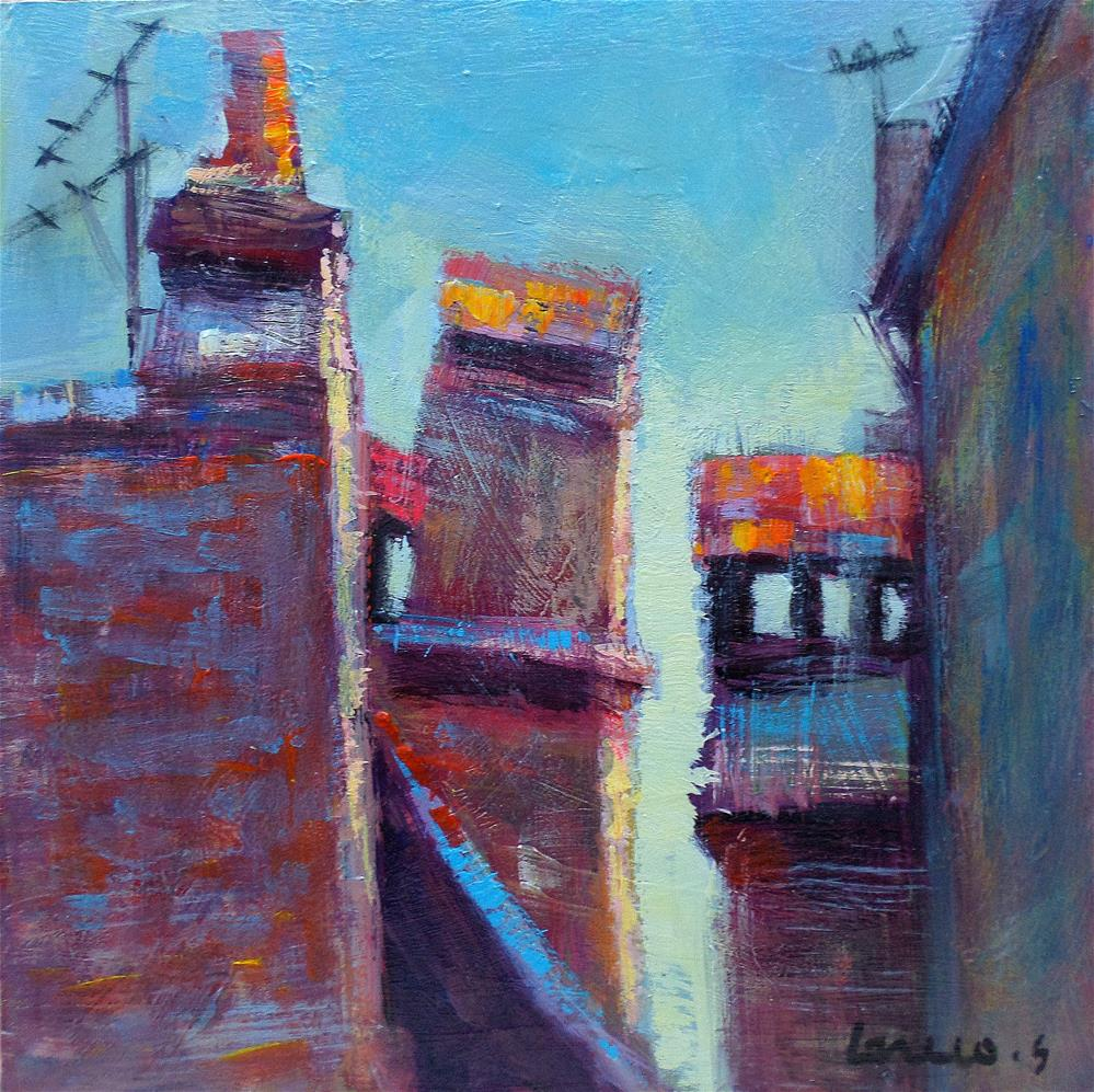 """""""Old chimney on the roof"""" original fine art by salvatore greco"""