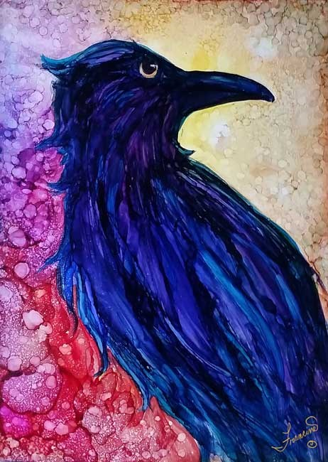 """The Raven"" original fine art by Francine Dufour~Jones"