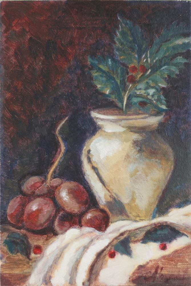 """""""Red Grapes with Holly"""" original fine art by Adriana B. Almquist"""
