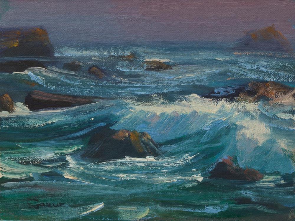 """""""Prewitt Creek in Big Sur 6x8"""" original fine art by Pavel Gazur"""