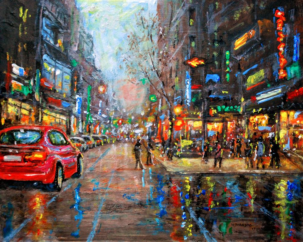 """New York in night 10"" original fine art by vishalandra dakur"