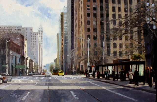 """The Bus Stop at Second and Marion Seattle cityscape oil painting by Robin Weiss"" original fine art by Robin Weiss"
