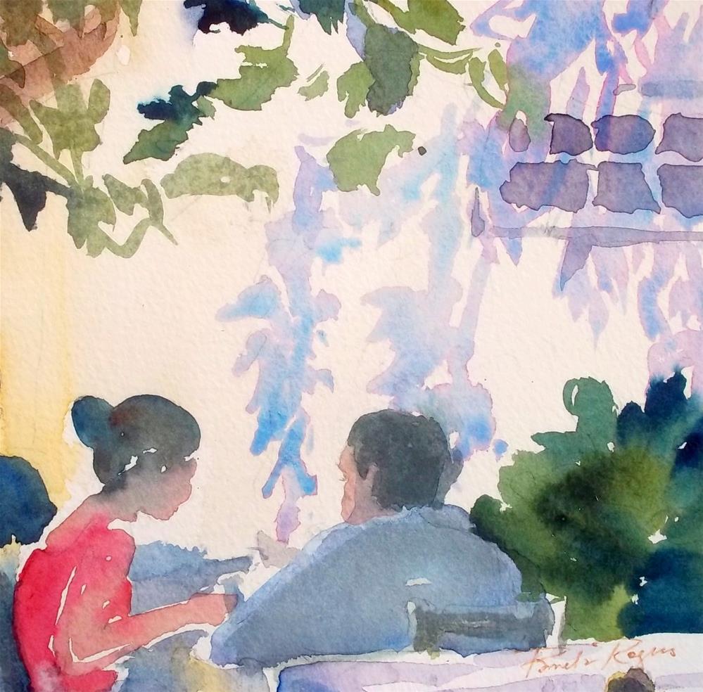 """""""Lunch on Hydra"""" original fine art by Pamela Jane Rogers"""