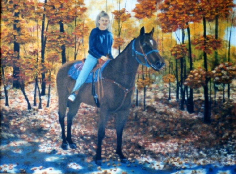 """Jennifer on Horse"" original fine art by John Marcum"