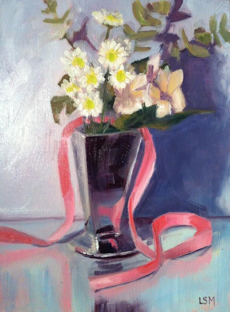 """White Flowers and Pink Ribbon"" original fine art by Linda Marino"