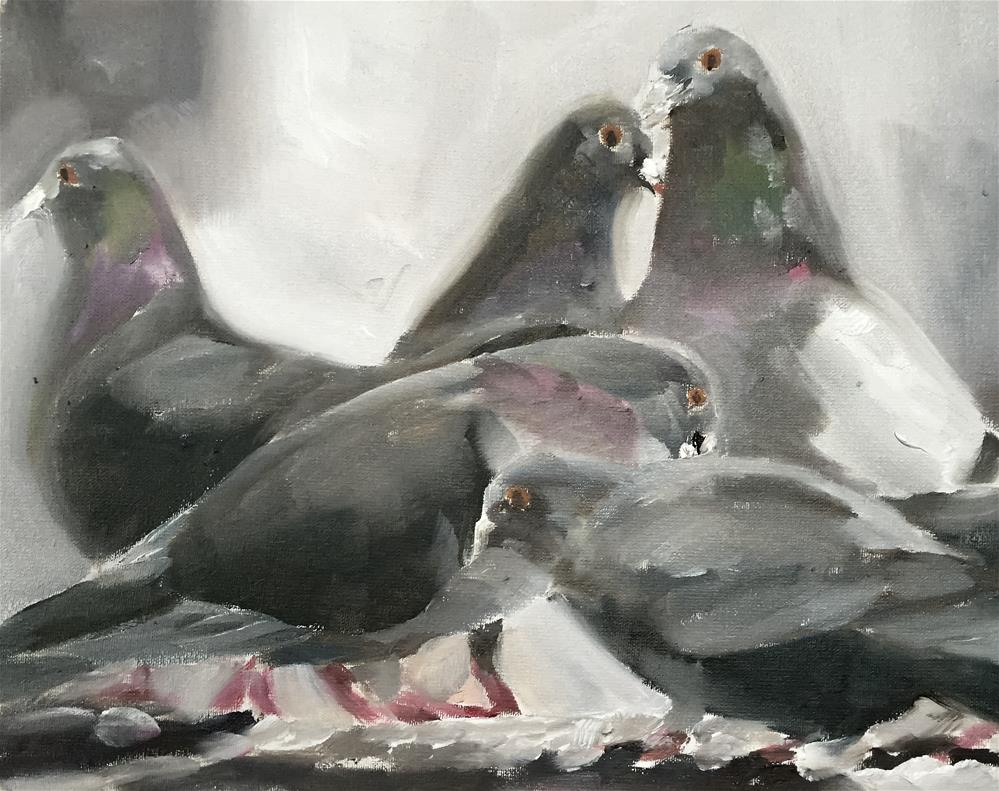 """Pigeons"" original fine art by James Coates"
