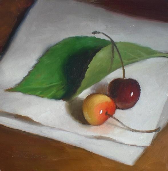 """Cherries and Leaf"" original fine art by Debra Becks Cooper"