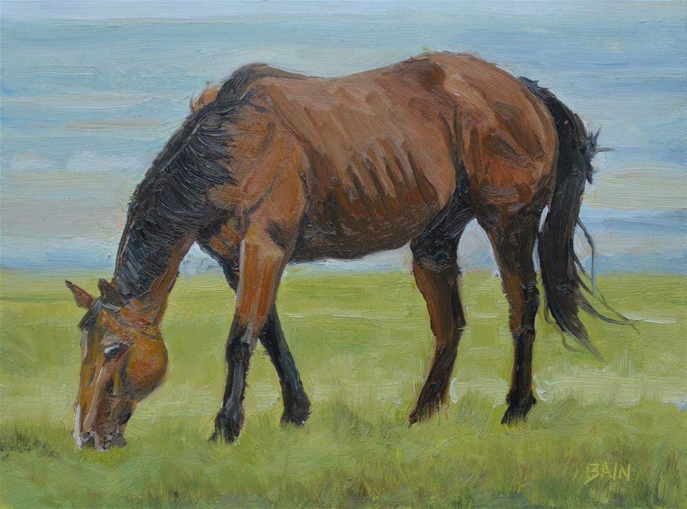 """""""Grass for Supper"""" original fine art by Peter Bain"""
