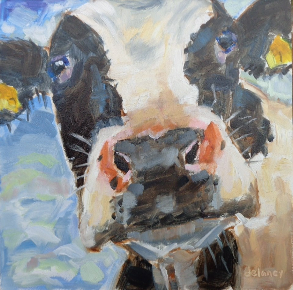 """Cow 146 IN THE CLOUDS"" original fine art by Jean Delaney"