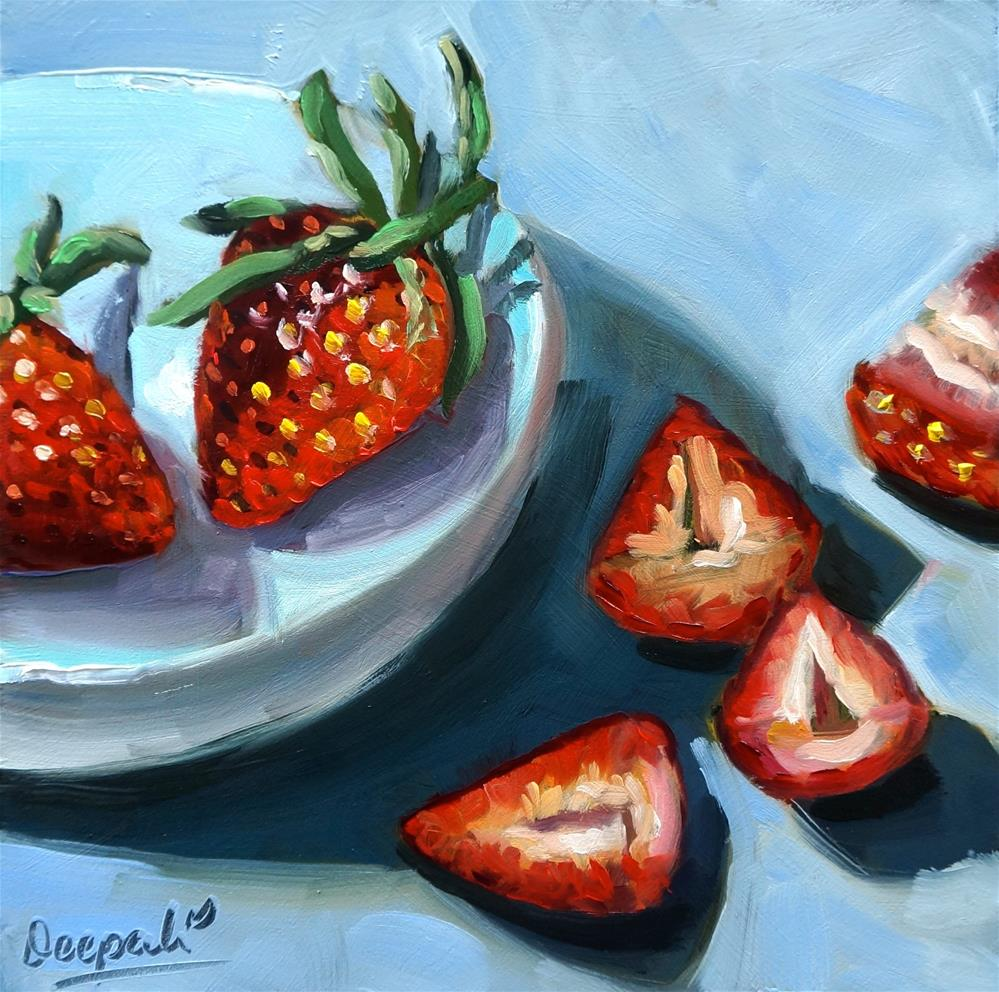 """Strawberries"" original fine art by Dipali Rabadiya"