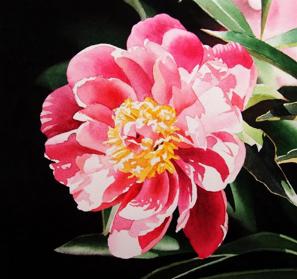 """Pink Peony"" original fine art by Jacqueline Gnott, TWSA, WHS"