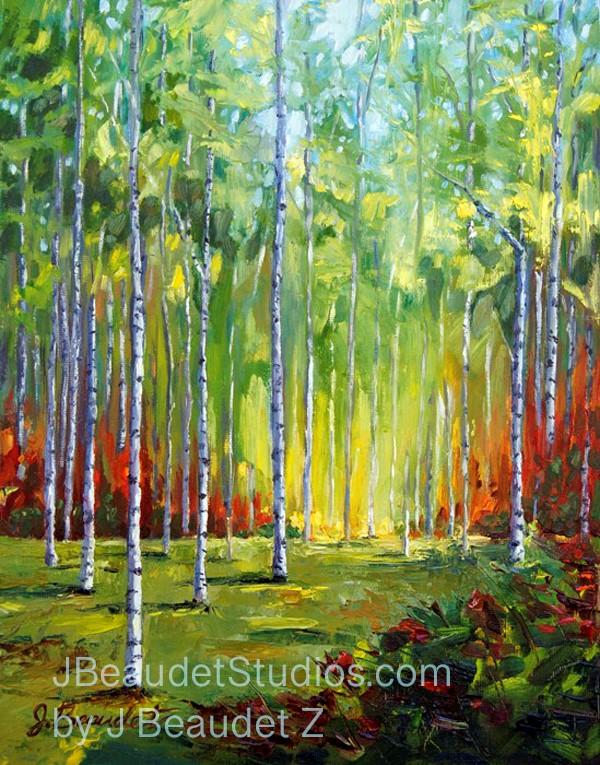 """Birch tree challenge by J Beaudet Zondervan"" original fine art by Jen Beaudet Z"