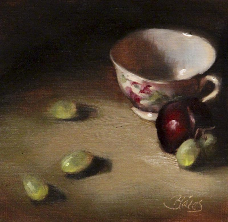 """Teacup and Green Grapes"" original fine art by Pamela Blaies"