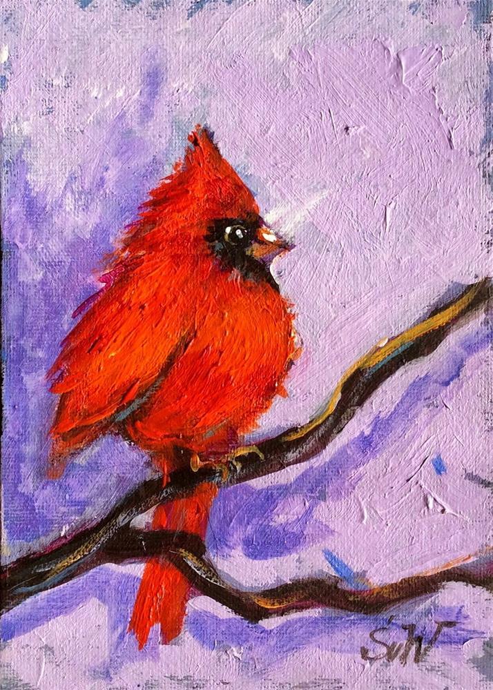 """""""Cardinal bird painting"""" original fine art by Sonia von Walter"""